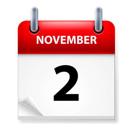 calendario noviembre: En segundo lugar, en noviembre icono Calendario en el fondo blanco