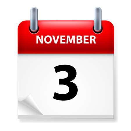 calendario noviembre: En tercer lugar, en noviembre de Calendario icono en el fondo blanco Vectores
