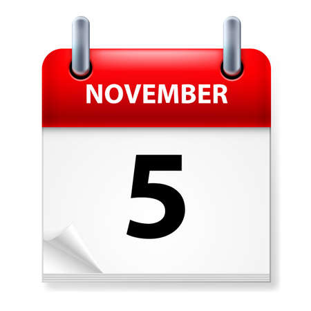 fifth: Fifth in November Calendar icon on white background