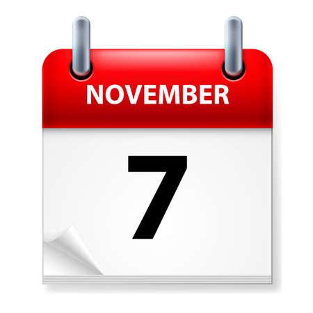 calendario noviembre: Séptimo, en noviembre de Calendario icono en el fondo blanco