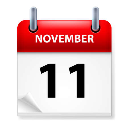 eleventh: Eleventh  in November Calendar icon on white background