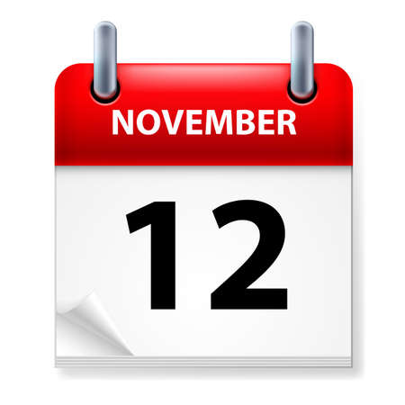november calendar: Twelfth in November Calendar icon on white background Illustration