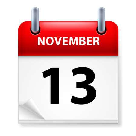 Thirteenth in November Calendar icon on white background Vector