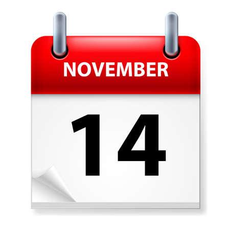 fourteenth: Fourteenth in November Calendar icon on white background