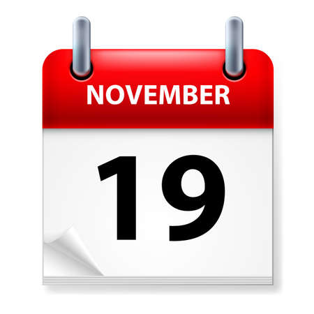 Nineteenth in November Calendar icon on white background Vector
