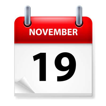 XIX en noviembre icono Calendario en el fondo blanco Ilustración de vector