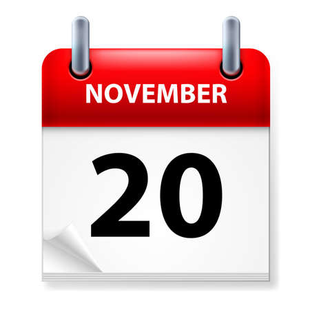 november calendar: Twentieth in November Calendar icon on white background Illustration