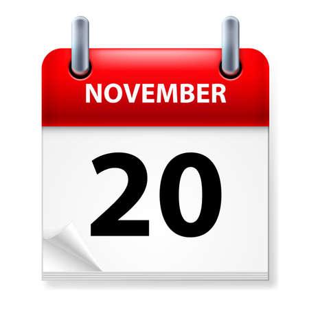twentieth: Twentieth in November Calendar icon on white background Illustration