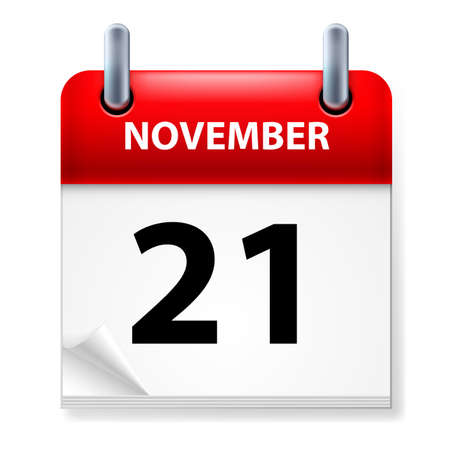 november calendar: Twenty-first in November Calendar icon on white background