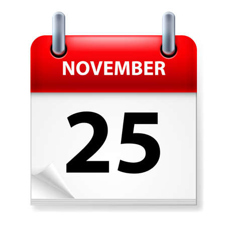 Twenty-fifth November in Calendar icon on white background Illustration