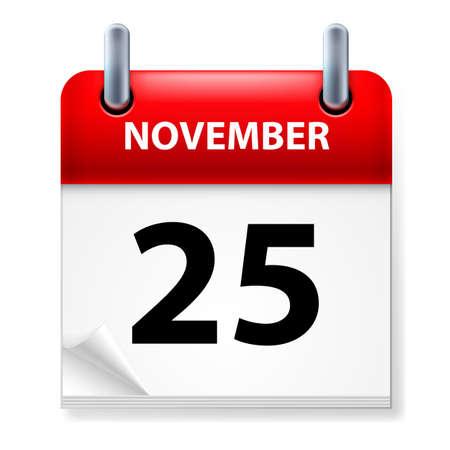 calendario noviembre: Vigésimo quinto mes de noviembre en el icono Calendario en el fondo blanco Vectores