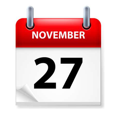 Twenty-seventh November in Calendar icon on white background Stock Vector - 14496289