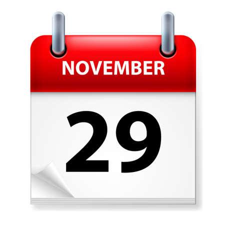 Twenty-ninth November in Calendar icon on white background Stock Vector - 14496323