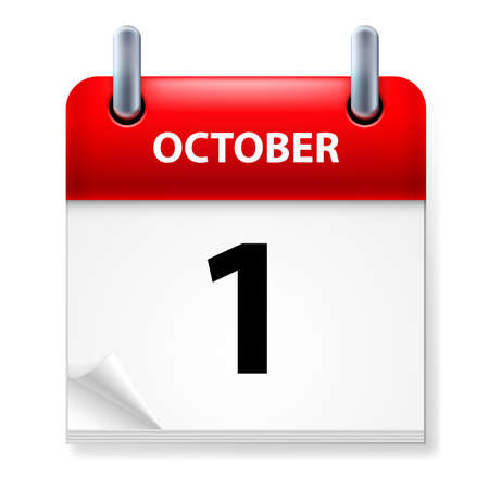 calendar october: First October in Calendar icon on white background Illustration