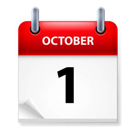 calendario octubre: Primero de octubre en el icono Calendario en el fondo blanco Vectores