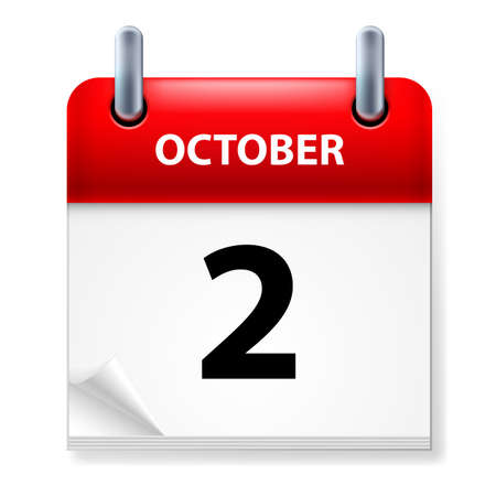 Second  October in Calendar icon on white background Vector