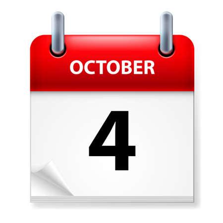 calendario octubre: Cuarto de octubre en el icono Calendario en el fondo blanco