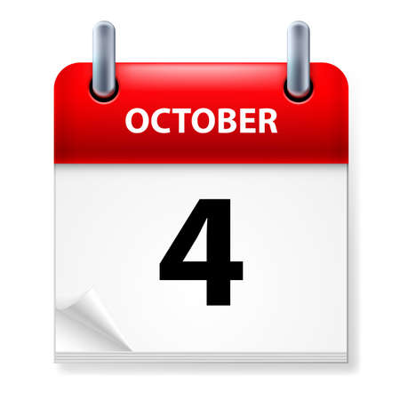 october calendar: Fourth October in Calendar icon on white background