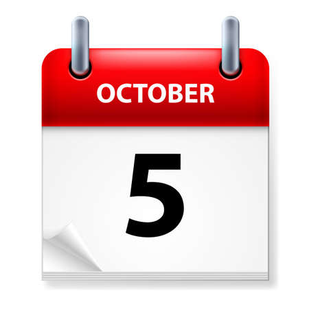 october calendar: Fifth October in Calendar icon on white background Illustration