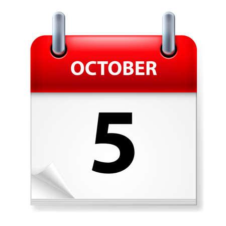 calendario octubre: Quinto mes de octubre en el icono Calendario en el fondo blanco Vectores