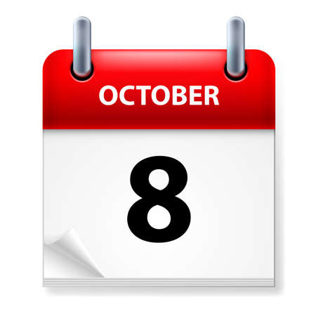 october calendar: Eighth October in Calendar icon on white background