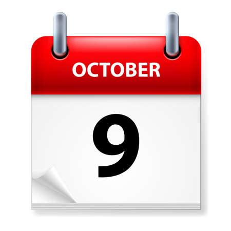 ninth: Ninth October in Calendar icon on white background Illustration