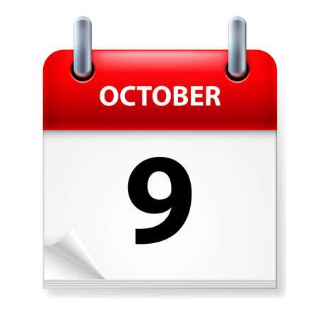 ninth: Ninth October in Calendar icon on white background Illustration