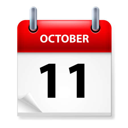 eleventh: Eleventh October in Calendar icon on white background