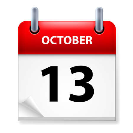 Thirteenth October in Calendar icon on white background Vector