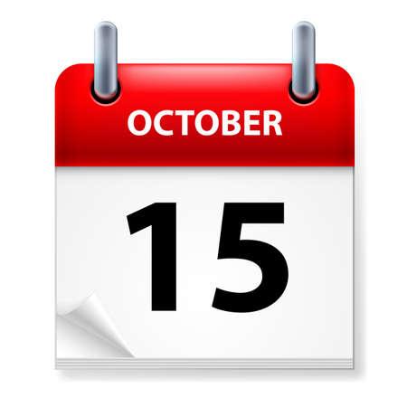 calendario octubre: Decimoquinta de octubre en el icono Calendario en el fondo blanco