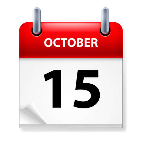 october calendar: Fifteenth October in Calendar icon on white background Illustration
