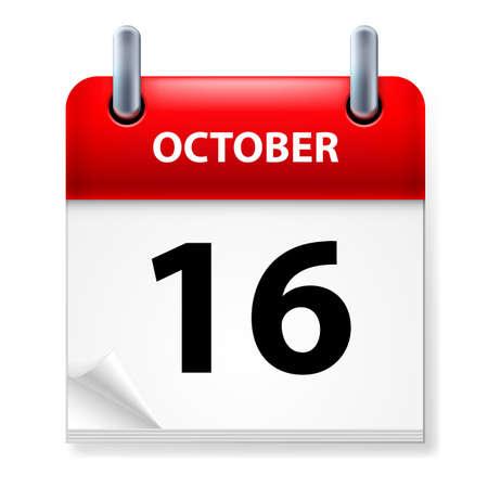 calendario octubre: Decimosexta de octubre en el icono Calendario en el fondo blanco