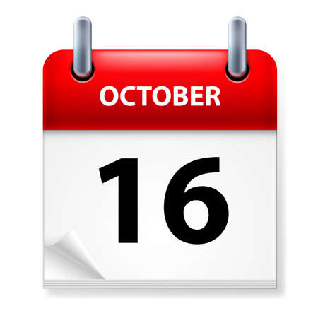 october calendar: Sixteenth October in Calendar icon on white background Illustration