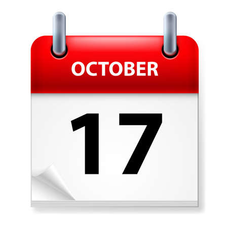 seventeenth: Seventeenth October in Calendar icon on white background