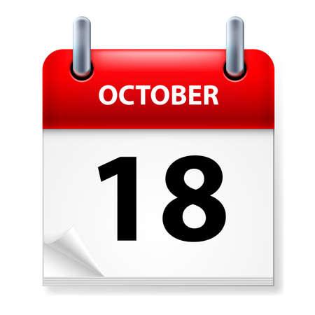 eighteenth: Eighteenth October in Calendar icon on white background Illustration