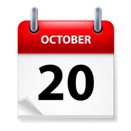 twentieth: Twentieth October in Calendar icon on white background