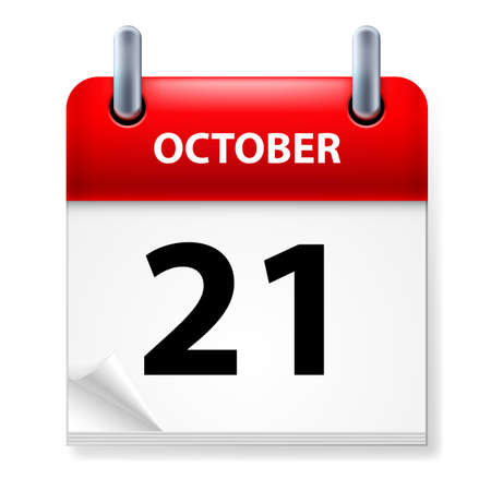 october calendar: Twenty-first  October in Calendar icon on white background