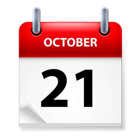 calendario octubre: XXI de octubre en el icono Calendario en el fondo blanco