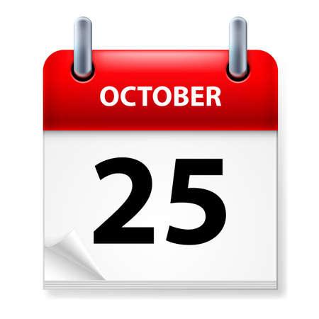 Vigésimo quinto mes de octubre en el icono Calendario en el fondo blanco Ilustración de vector