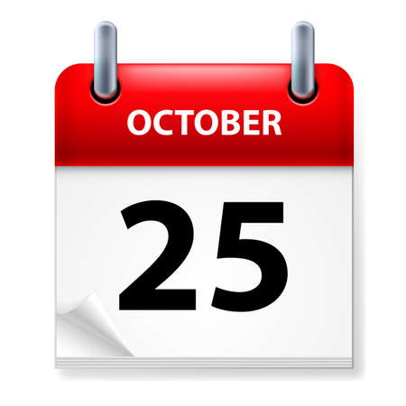kalender oktober: Vijfentwintigste oktober in Agenda-pictogram op witte achtergrond Stock Illustratie