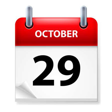 calendario octubre: Vigésimo noveno mes de octubre en el icono Calendario en el fondo blanco