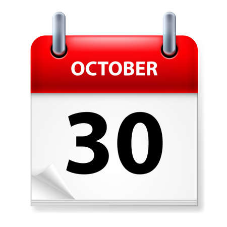 Thirtieth October in Calendar icon on white background Vector