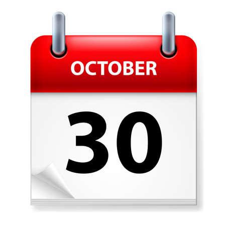 calendario octubre: Trigésimo octubre en el icono Calendario en el fondo blanco