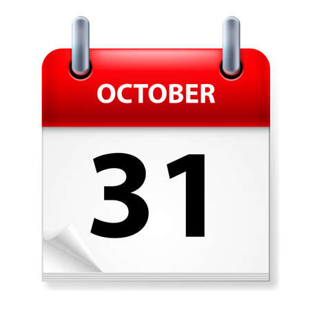 today: Thirty-first October in Calendar icon on white background Illustration