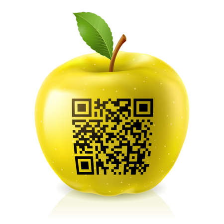 up code: Yellow apple and QR Code. Abstract illustration of designer on white background