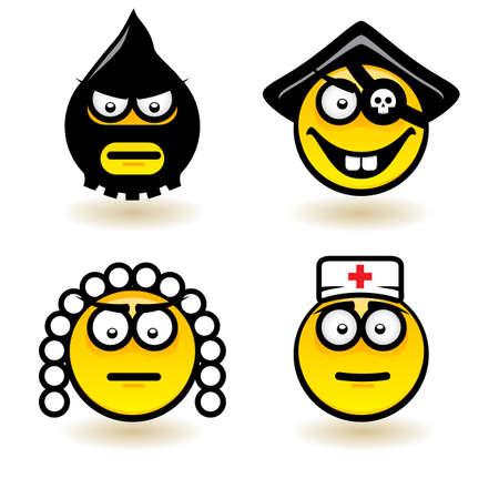 clin d oeil: Quatre dessins anim�s d'�motions. Illustration de la conception sur fond blanc Illustration