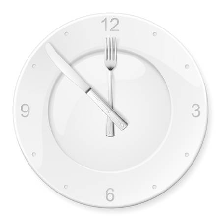 white plate: Clock of the plates and forks, spoons. Illustration for design on white background