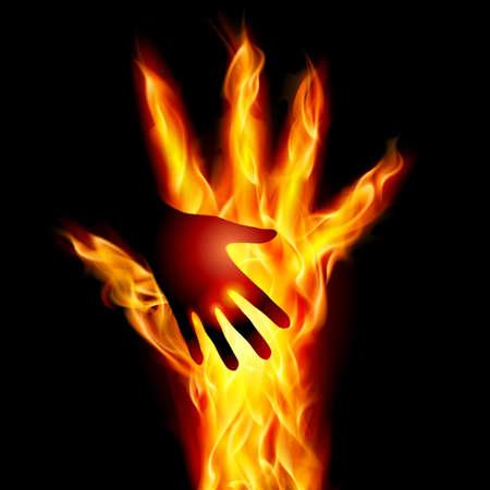 resplandor: Burning mano. Ilustración para el diseño en fondo negro Vectores