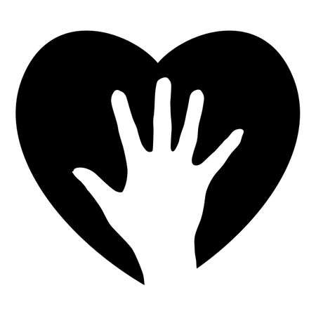 hold hand: Helping Hand nel cuore. Illustrazione per la progettazione su sfondo bianco Vettoriali