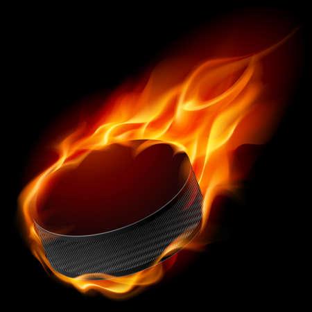 fire and ice: Burning hockey puck. Illustratie voor het ontwerp op zwarte achtergrond